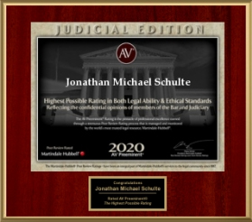 Martindale Hubbell Judicial Edition - Highest Honor Given Jonathan Schulte 2020Lawyers.com AV Preeminent Rating 2020 Jon Schulte