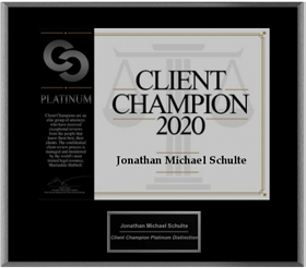 Martindale-Hubbell 2020 Client Champion Jon Schulte